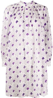 Isabel Marant Pleated-Neckline Floral-Print Shirtdress