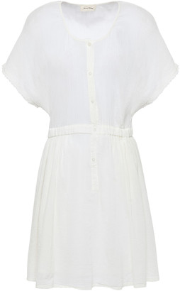 American Vintage Ybanut Frayed Cotton-gauze Mini Dress