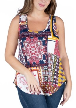 24seven Comfort Apparel Women's Plus Size Round Hemline Sleeveless Tunic Top