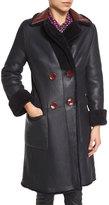 Diane von Furstenberg Grayson Reversible Mouton Fur & Leather Coat, Royal Navy/Red Onyx