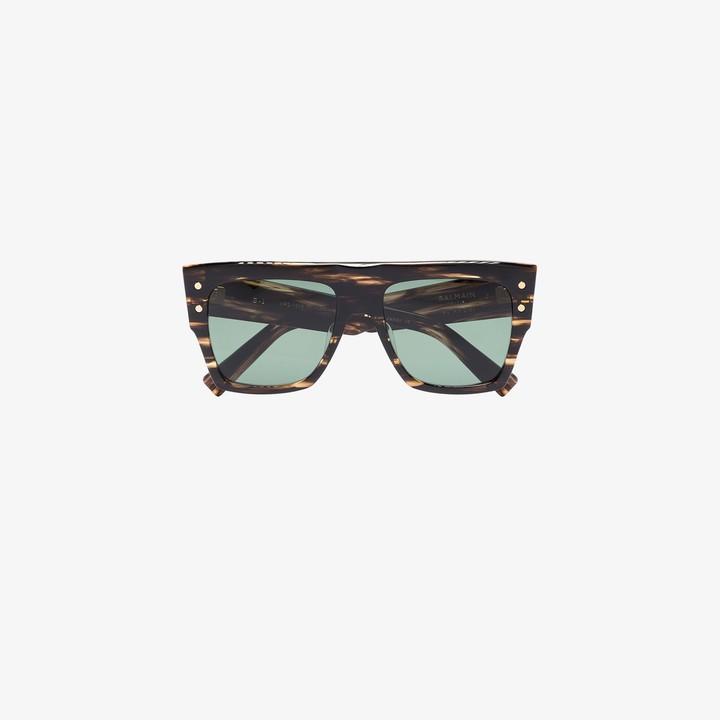 Balmain Eyewear brown B-I tortoiseshell square sunglasses