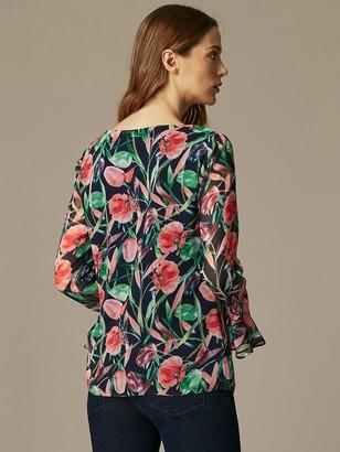 Wallis Brushstroke Floral Ruffle Front Blouse - Black