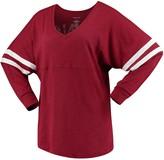 Unbranded Women's Cardinal Arkansas Razorbacks Pom Pom V-Neck Long Sleeve T-Shirt