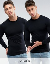 Asos 2 Pack Crew Neck Jumper In Black