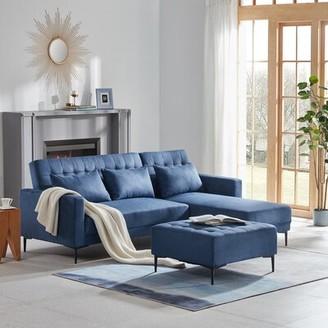 "Corrigan Studio Conlon 86.6"" Wide Right Hand Facing Sleeper Sofa & Chaise with Ottoman Fabric: Blue Microfiber"