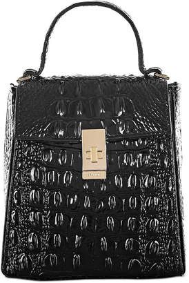 Brahmin Black Melbourne Embossed Leather Midge Satchel