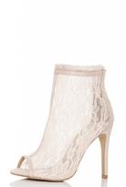 Quiz Nude Lace Peep Toe Shoe Boots
