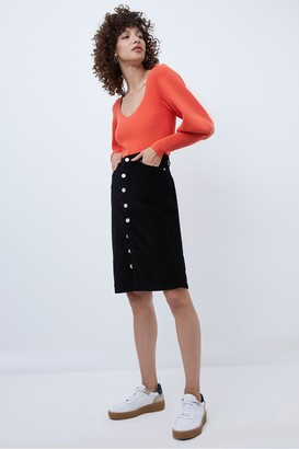 French Connection Sori Jumbo Cord Button Front Skirt