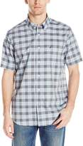 Nautica Men's Short Sleeve Cotton Poplin Plaid Wrinkle Resistant Shirt