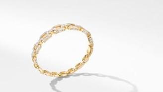 David Yurman Stax Bangle Bracelet In Yellow Gold With Diamonds