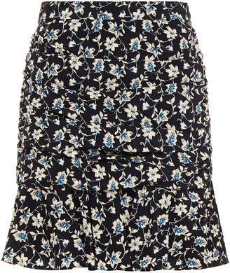 Veronica Beard Taras Ruched Floral-print Silk-blend Crepe De Chine Mini Skirt