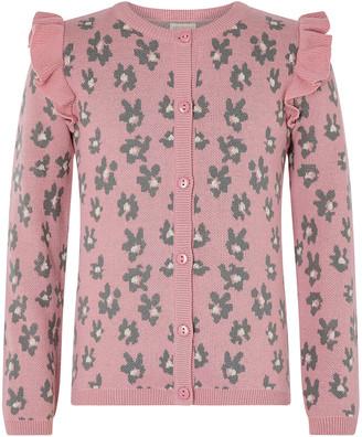 Monsoon Animal Knit Cardigan Pink