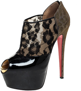 Christian Louboutin Black Leopard Print Lame Fabric/Lace and Patent Leather Aerontoc Peep Toe Platform Booties Size 39