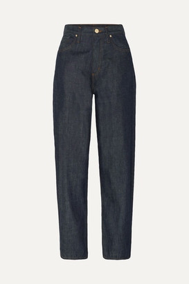 Gold Sign The Curved Cropped High-rise Tapered Jeans - Dark denim