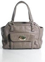DKNY Beige Leather Gold Tone Hardware Casual Satchel Handbag