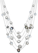 INC International Concepts Silver-Tone Mixed Bead Layer Necklace, Only at Macy's