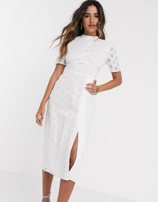 Asos DESIGN broderie midi tea dress in white