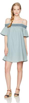 My Michelle Women's Ruched Cold Shoulder Dress