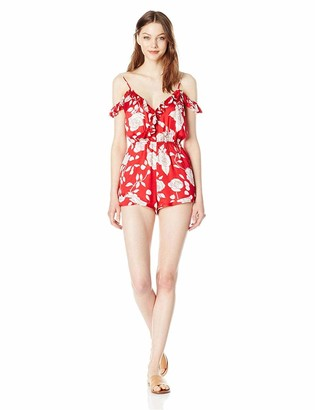 MinkPink Women's Enchanted Rose Print Wrap Playsuit