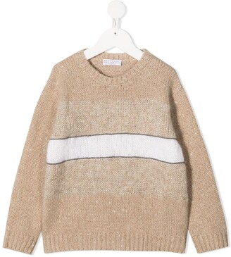 BRUNELLO CUCINELLI KIDS Brass-Embellished Panelled Jumper