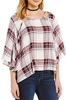 Copper Key Woven Plaid Cutout Peasant Blouse