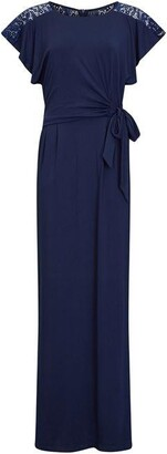 Yumi Ruched Navy Maxi Dress With Lace Detail