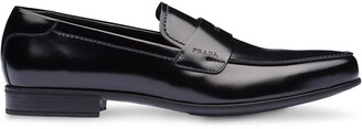 Prada Brushed Leather Penny Loafers