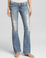 True Religion Jeans - Joey Original Low Rise Flare with Flap Pocket in Destroyed