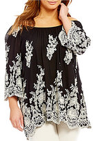 Bobeau Plus Off-the-Shoulder Floral Embroidered Peasant Top