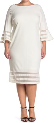 Calvin Klein Illusion Stripe Bell Sleeve Sheath Dress