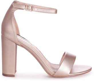Linzi SELENA - Champagne Nappa Barely There Block High Heel