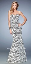 La Femme Black and White Lace Mermaid Prom Dress