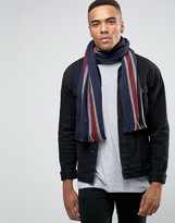 Fred Perry Striped Scarf In Lambswool