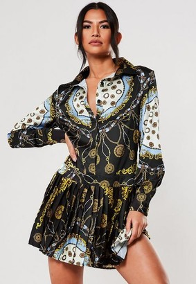 Missguided Black Chain Print Pleated Shirt Dress