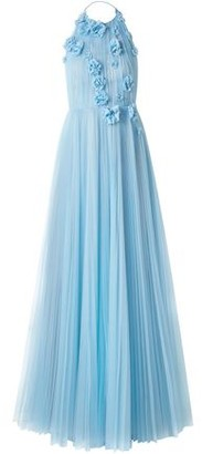 Jason Wu Floral-appliqued Pleated Tulle Halterneck Gown