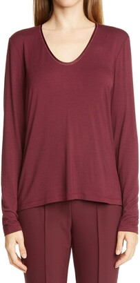 Lafayette 148 New York Chain Trim Top