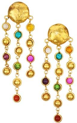 Sylvia Toledano Rain Drops 22K Goldplated & Multi-Stone Clip-On Chain Drop Earrings