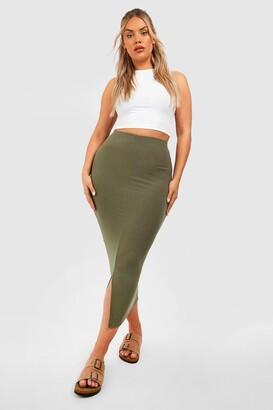 boohoo Plus Soft Rib Split Front Midaxi Skirt