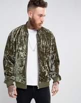 Asos Crushed Velvet Bomber Jacket in Khaki
