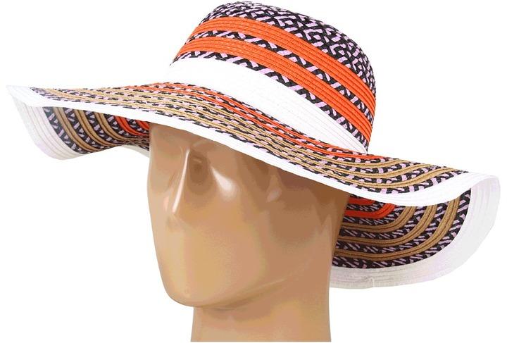 BCBGeneration Pop Stripe Floppy Hat (White) - Hats