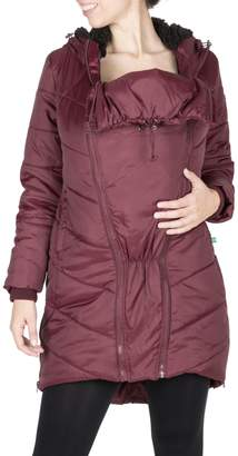 Modern Eternity Harper 3-in-1 Mid-Thigh Faux Fur-Lined Maternity Cocoon-Style Puffer Jacket