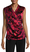 St. John Ombre Peony Charmeuse Printed Top