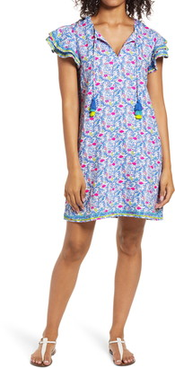 Vineyard Vines Floral Flamingos Linen Dress