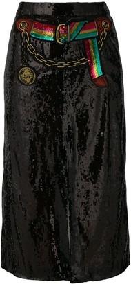 Marco De Vincenzo Sequined Split Skirt