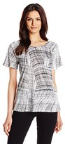 Calvin Klein Jeans Women's Short Sleeve Distressed Plaid Printed Raglan Slub Top