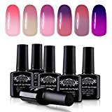 Soak Off UV LED Gel Nail Polish 10ml, Mood Changing, Chameleon Temperature Colors Changes Thermal Lacquers, Pack of 6 -Set #11 by Perfect Summer