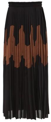 Jil Sander Panelled Pleated Cotton-blend Skirt - Black Brown