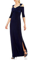 R & M Richards Cold-Shoulder Bead-Trim Sweetheart Gown