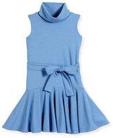Helena Sleeveless Fit-and-Flare Turtleneck Dress, Blue, Size 7-14