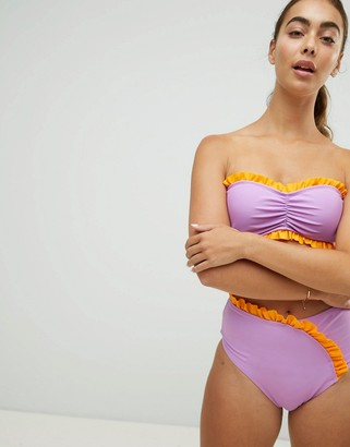 Vero Moda Asymetric Ruffle High Waisted Bikini Bottom